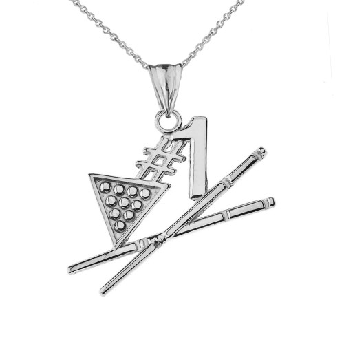 #1 Billiards Player Pendant Necklace in Sterling Silver