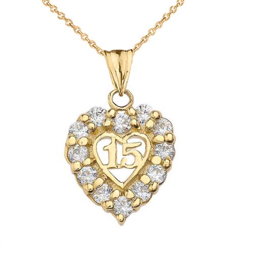 """""""15 Años"""" Quinceañera Heart Pendant Necklace in Yellow Gold"""
