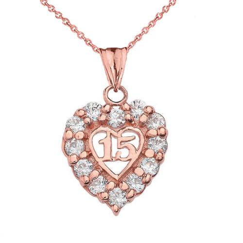"""""""15 Años"""" Quinceañera Heart Pendant Necklace in Rose Gold"""