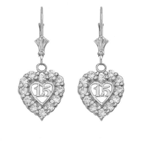 """14K """"15 Años"""" Quinceañera Heart Earrings in White Gold"""