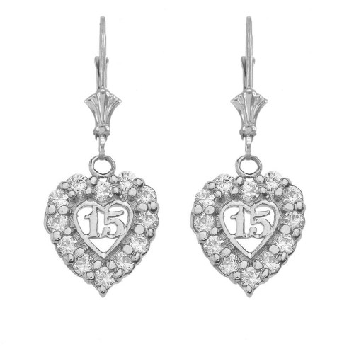 """15 Años"" Quinceañera Heart Earrings in Sterling Silver"