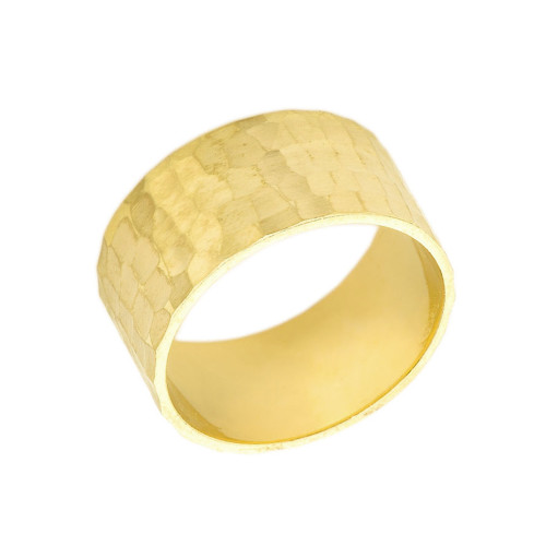 Solid Yellow Gold Hammered 10 Millimeter Wedding Band