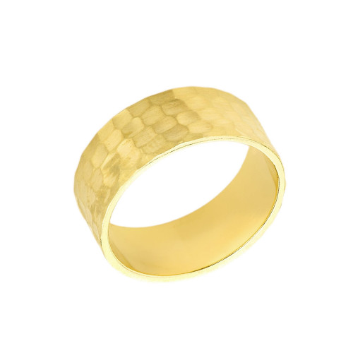 Solid Yellow Gold Hammered 8 Millimeter Wedding Band