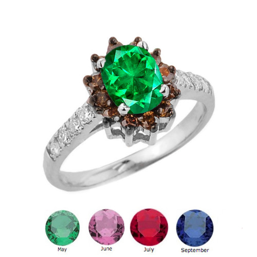 Coffee Genuine Diamond and Personalized Birthstone Ring In Sterling Silver