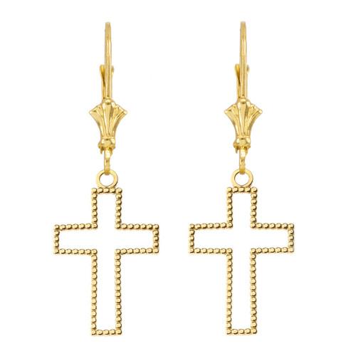Two Sided Beaded Open Cross Earrings in Yellow Gold