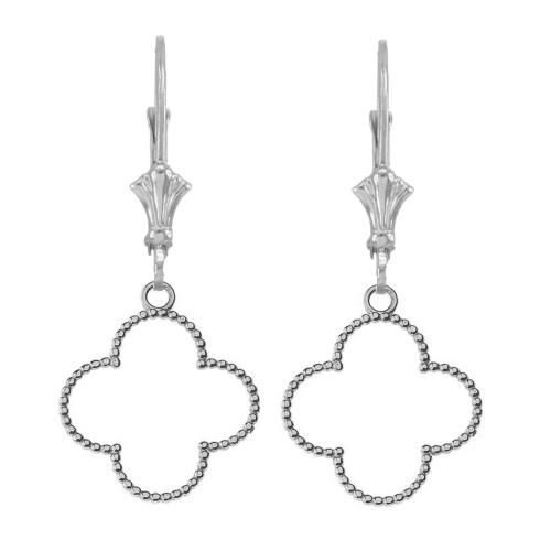 Beaded Open Clover Earrings in Sterling Silver