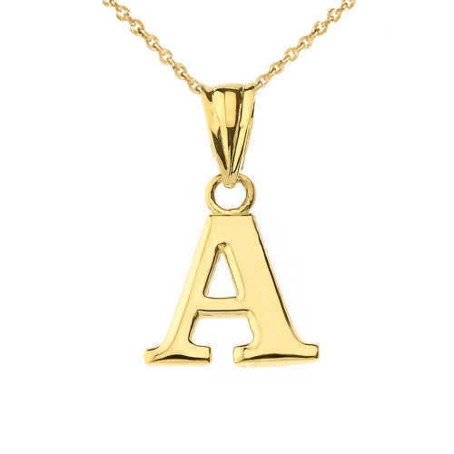 Initial Pendant Necklace in Yellow Gold