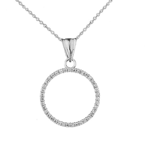 """Circle of Love"" Pendant Necklace in 14K White Gold"
