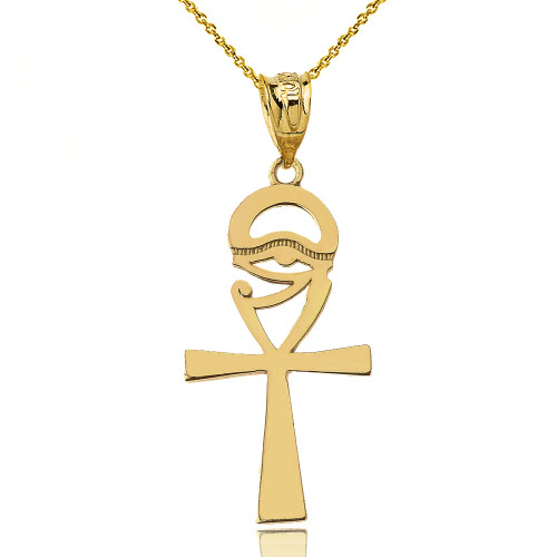 Ankh Cross Eye of Horus Pendant Necklace in Yellow Gold