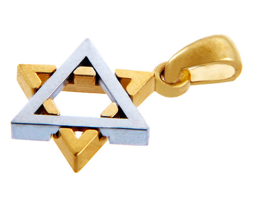 Jewish Charms and Pendants - 14K Two Tone Solid Gold Gleaming Star of David