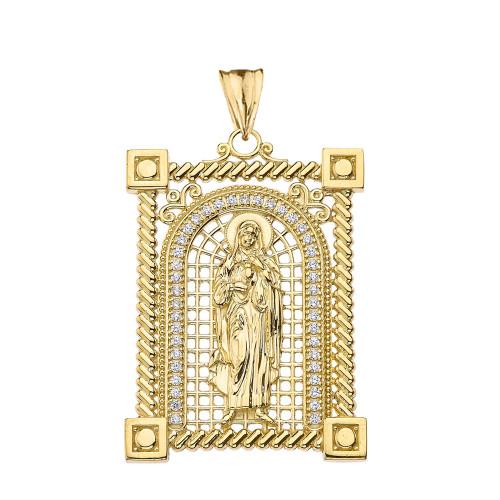 0ac0e1012faa Diamond Saint Mary Pendant Necklace in Gold (Yellow Rose White)