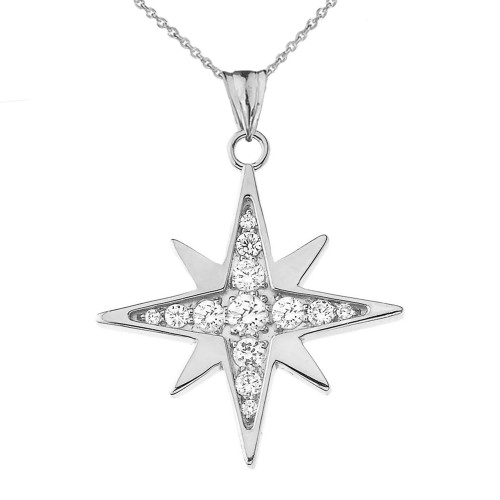 Cubic Zirconia North Star Pendant Necklace in White Gold