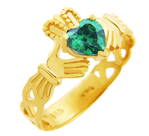 Gold Claddagh Trinity Band Ring with Emerald Birthstone.  Available in your choice of 14k or 10k Gold.
