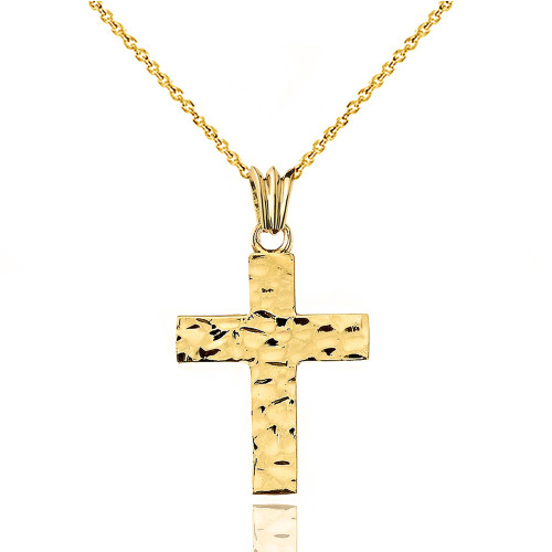 "Hammered Solid Cross in Yellow Gold (1.3"")"