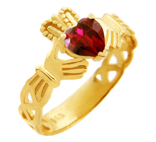 Gold Claddagh Trinity Band Ring with Garnet Birthstone.  Available in your choice of 14k or 10k gold.