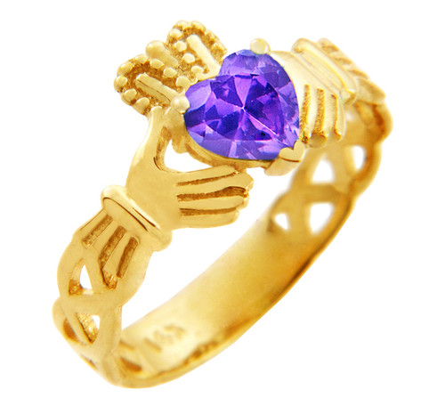 Gold Claddagh Trinity Band Ring with Alexandrite Birthstone.  Available in 14k and 10k gold.