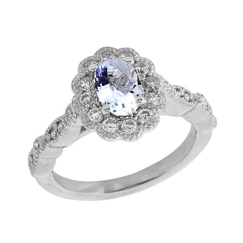 Vintage Style Genuine Aquamarine Ring in Sterling Silver