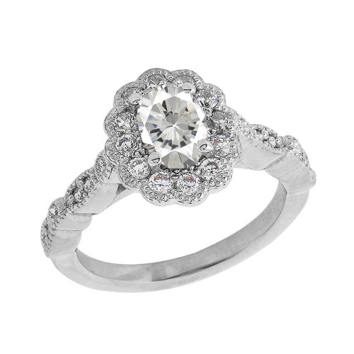 Vintage Style Clear Cubic Zirconia Ring in Sterling Silver