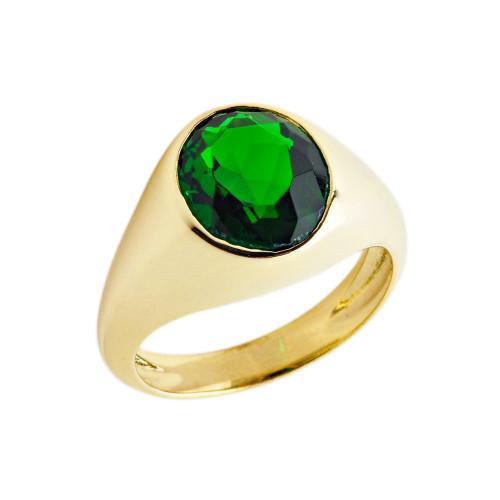 May Birthstone Gentleman's Pinky Ring