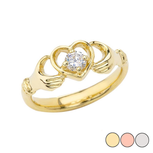 .20 CT Diamond Classic Claddagh Ring in Gold (Yellow/Rose/White)