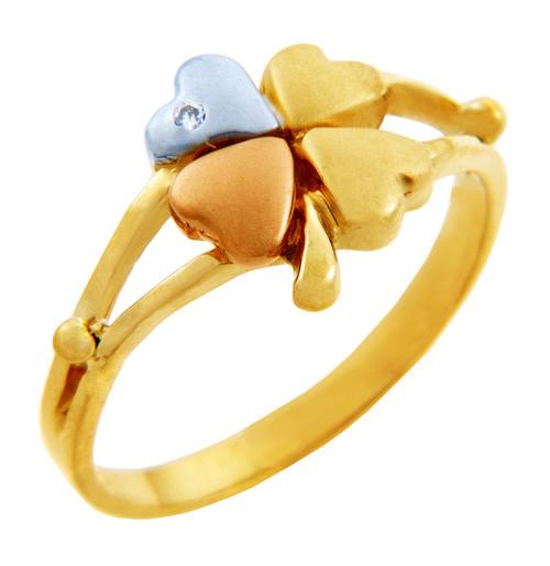 Tri-Tone Gold Clover CZ Celtic Ring