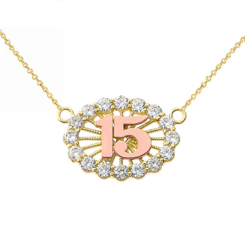 15 Quinceañera Necklace in 14K Two Tone Yellow & Rose Gold