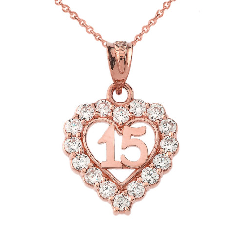 15 Quinceañera Heart Necklace in Rose Gold