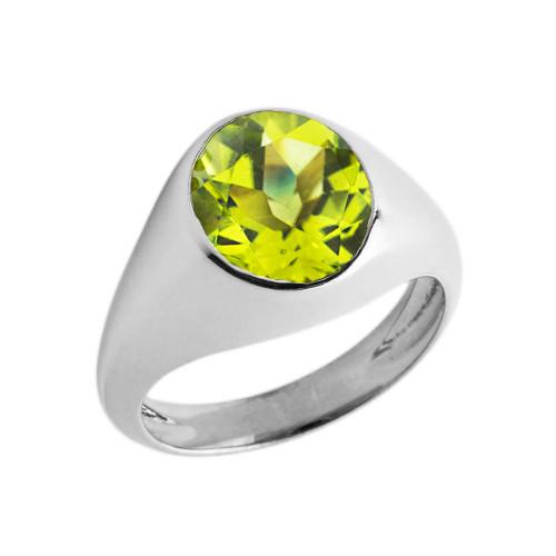 August Birthstone Gentleman's Pinky Ring in Sterling Silver