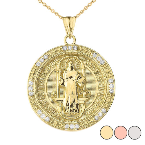 Two Sided Diamond Saint Benedict Medallion Pendant Necklace in Gold (Yellow/Rose/White)