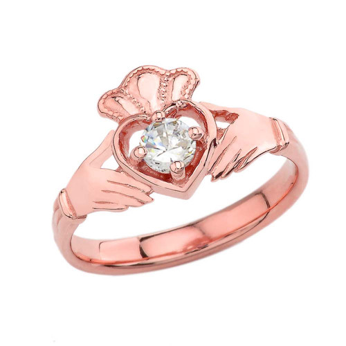 April Birthstone Claddagh with Crown Ring in Rose Gold