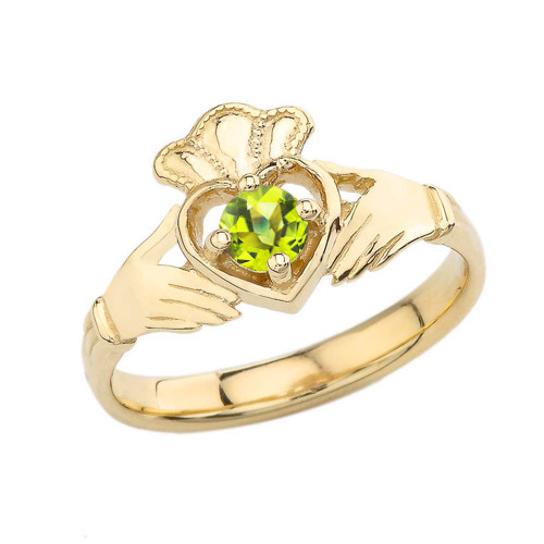 August Birthstone Claddagh with Crown Ring in Yellow Gold