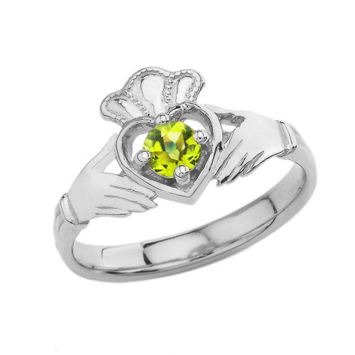 August Birthstone Claddagh with Crown Ring in White Gold