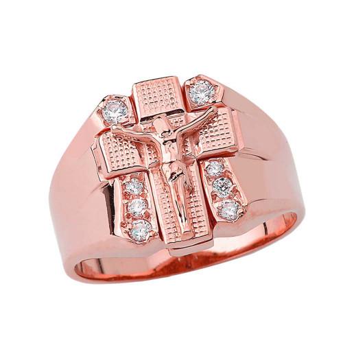 Bold Diamond Crucifix Ring in Rose Gold