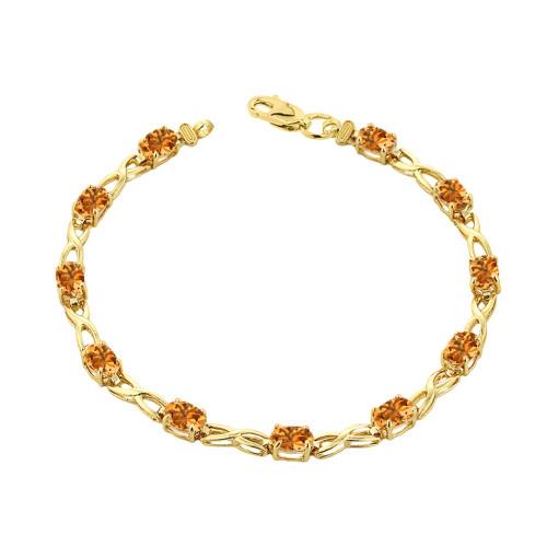 Citrine Infinity Bracelet in Yellow Gold
