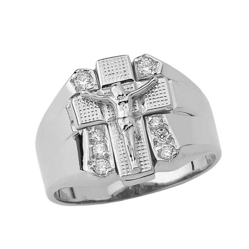 Bold Diamond Crucifix Ring in White Gold