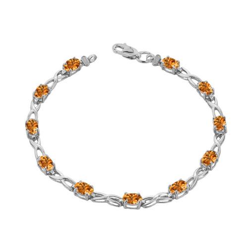 Citrine Infinity Bracelet in White  Gold