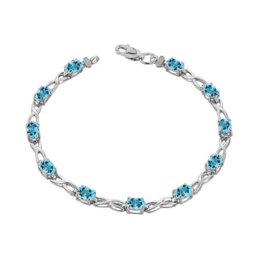 Blue Topaz Infinity Bracelet in Sterling Silver