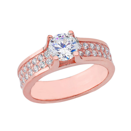 Bold-Chic Diamond Engagement Ring in Rose Gold