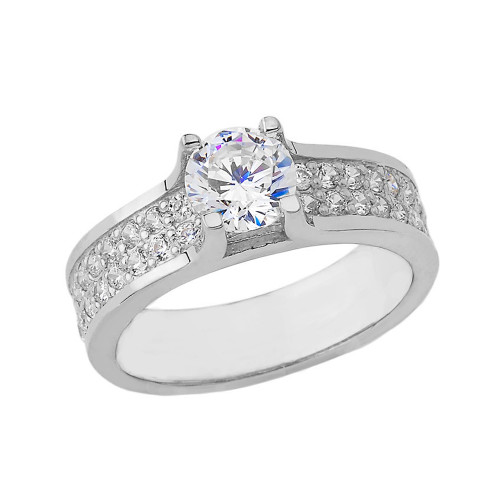 Bold-Chic Diamond Engagement Ring in White Gold