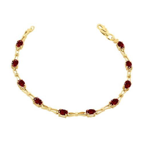 Garnet Gemstone Tennis Bracelet in Yellow Gold
