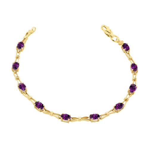 Amethyst Gemstone Tennis Bracelet in Yellow Gold