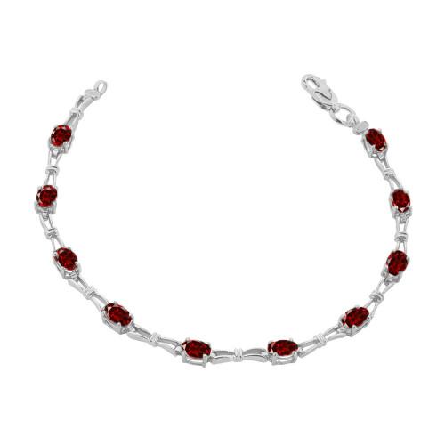 Amethyst Gemstone Tennis Bracelet in Sterling Silver