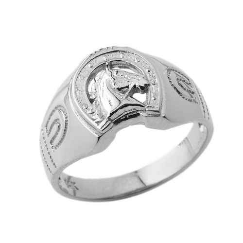 Lucky Horseshoe Statement Ring in White Gold