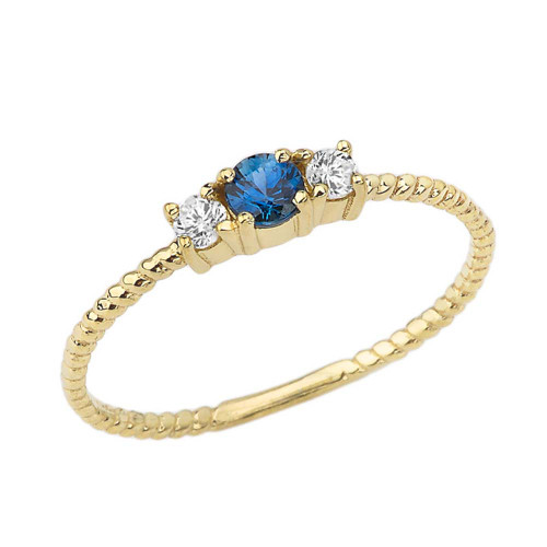 Chic Genuine Sapphire & White Topaz Roped Ring in Yellow Gold
