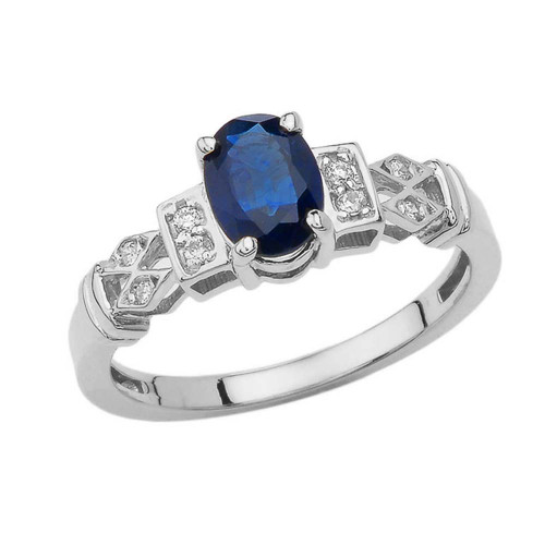 1920's Style Sapphire and Diamond Art Deco Ring  In White Gold