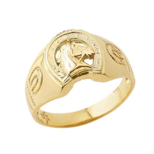 Lucky Horseshoe Statement Ring in Yellow Gold