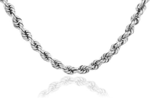 White Gold Chains: Rope Ultra Light Diamond Cut 10K Gold Chain 2mm