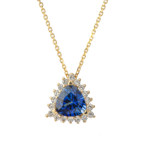 Chic CZ & Trillion Cut Sapphire (LCS) Pendant Necklace  in 14K Yellow Gold