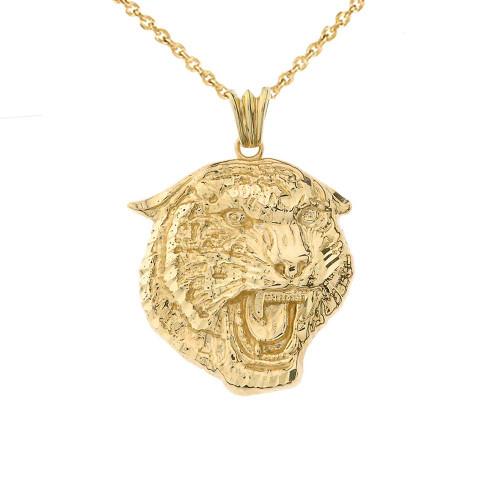 Bold Jaguar Statement Pendant Necklace in Yellow Gold (Medium)