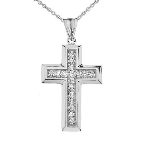 Designer Bold CZ Cross in White Gold